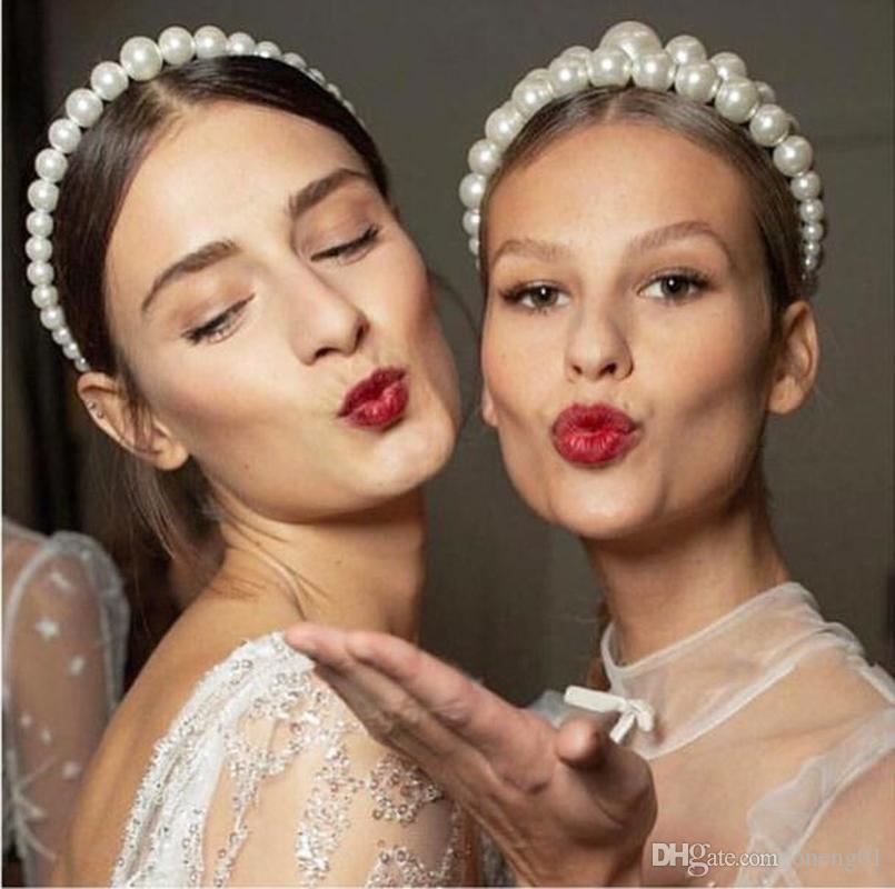 Kadınlar İnci Kafa Moda Saç bandı Parti saç toka Saç çember Düğün Kafa Hoop Aksesuar Takı