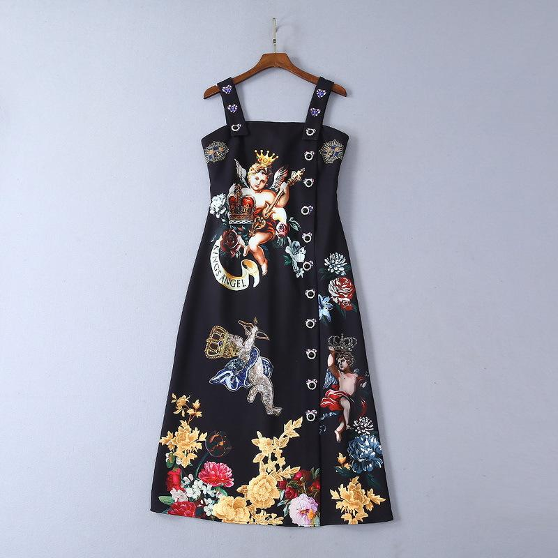2019 Ladies Luxury Newest Floral Angel Print Square Neck Rhinestone Buttons Mid-Calf Dresses Spaghetti Strap Runway Dresses 190613L1219