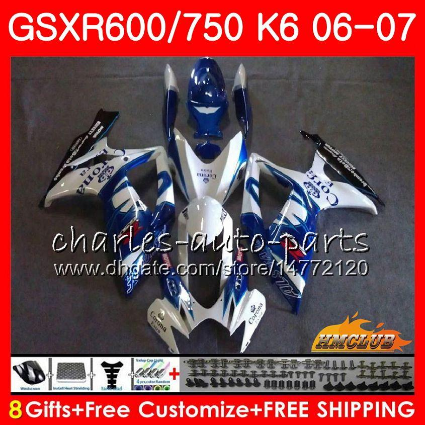 Body For SUZUKI GSX R750 GSX R600 GSXR 600 750 GSXR750 06-07 8HC.72 GSXR-750 Blue sale hot GSX-R600 K6 GSXR600 06 07 2006 2007 Fairing kit