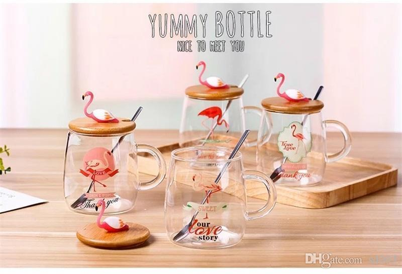Flamingo Glass Water Bottle Creative Covered Ins Tumbler Covered Juice Tea Coffee Mugs Personality Originality Lovely 9 7rq C1