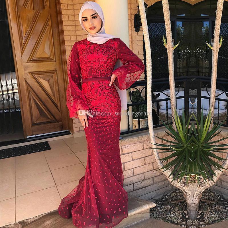 Venta caliente árabe cordón de la sirena vestidos de noche de cuello alto de manga larga musulmán Prom Vestidos de longitud de tul apliques vestido formal