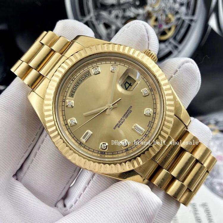 2021 41мм Asia 2813 II желтого золота Мужские часы браслет 218238 Автоматическая Мужские часы