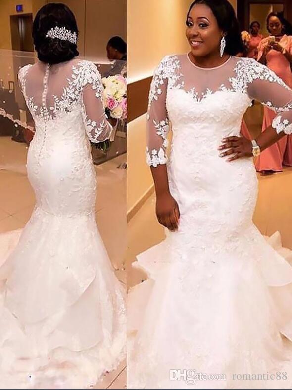 높은 품질 인어 나이지리아 남아 프리 카 공화국 웨딩 드레스 예배당 기차 흰색 얇은 명주 복장 긴 소매 웨딩 신부 드레스