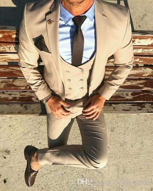 Beige Hochzeit Smoking Slim Fit Anzüge Für Männer Groomsmen Anzug Drei Stücke Günstige Prom Formelle Anzüge (Jacke + Pants + Weste + Tie) 266