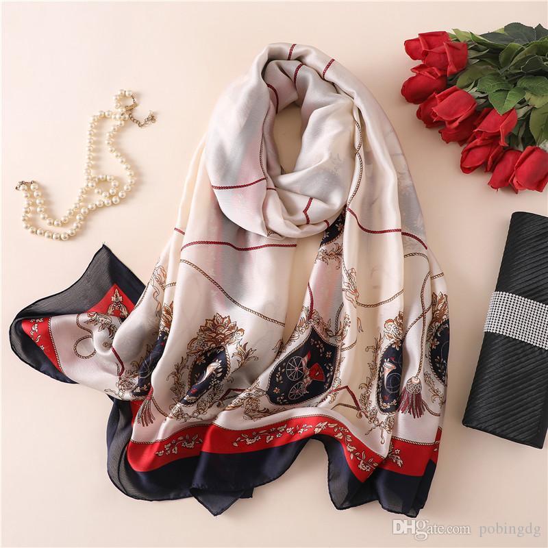 Nouveau Foulard en soie femmes corde Tassel impression Femme Mode Foulard ShawlsWraps Serviette de plage douce longues écharpes Mouchoir 180 * 90cm
