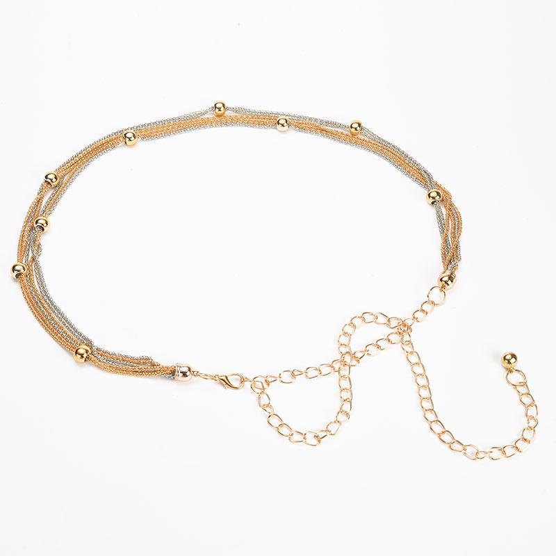 Il nuovo oro femminile Full Metal Specchio sottile cintura in vita Donne piastra metallica con catene Lady Punk Rocky cinturino per le donne BL645