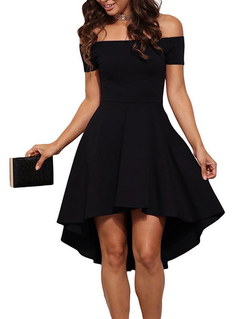 Yaz dress 2017 kadın moda zarif parti elbiseler slash boyun kapalı omuz patenci dress katı düzensiz elbiseler b6305c j190601