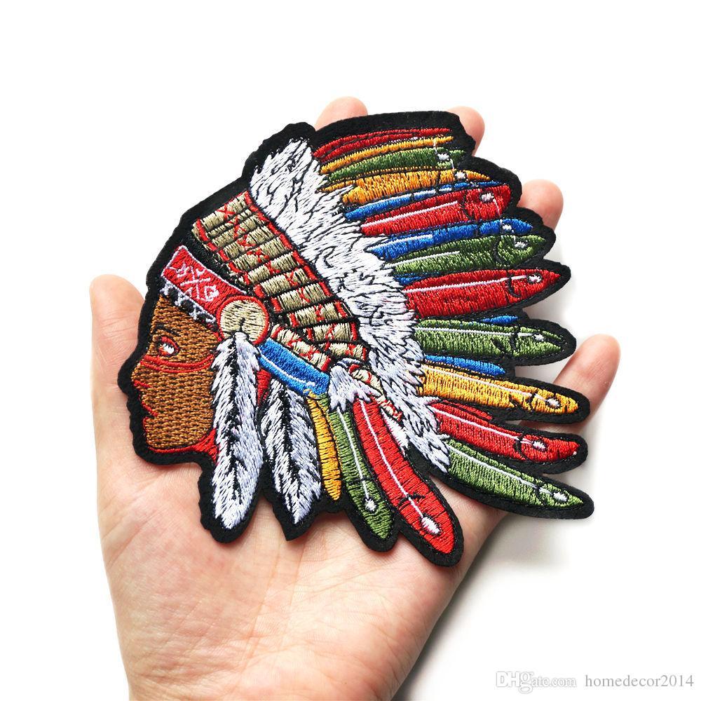 12cm indiano donna arcobaleno piuma cucire ferro sulle toppe distintivi ricamati per i vestiti diy appliques decorazione artigianale