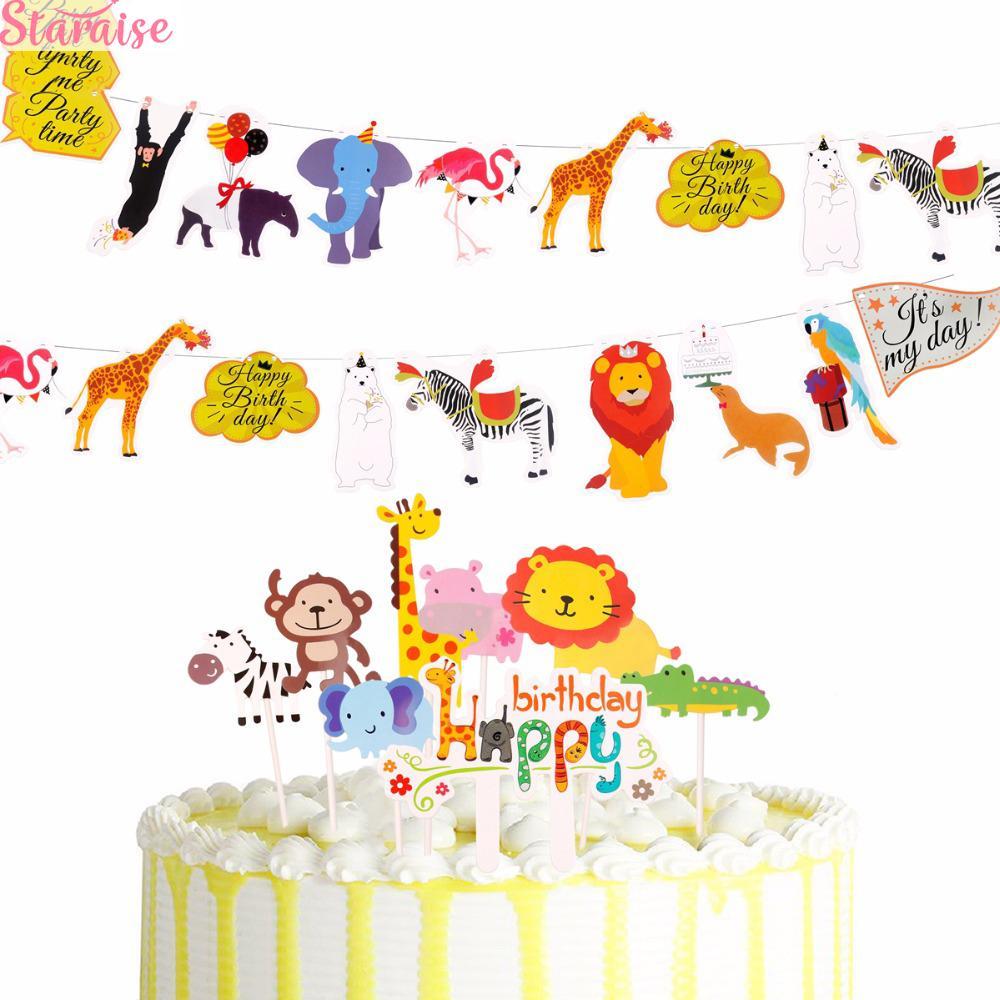 Staraise Doğdun Banner Hayvan Kek Topper Kid doğum günü partisi Vahşi Hayvan Jungle Safari Parti Orman Dekor Malzemeleri