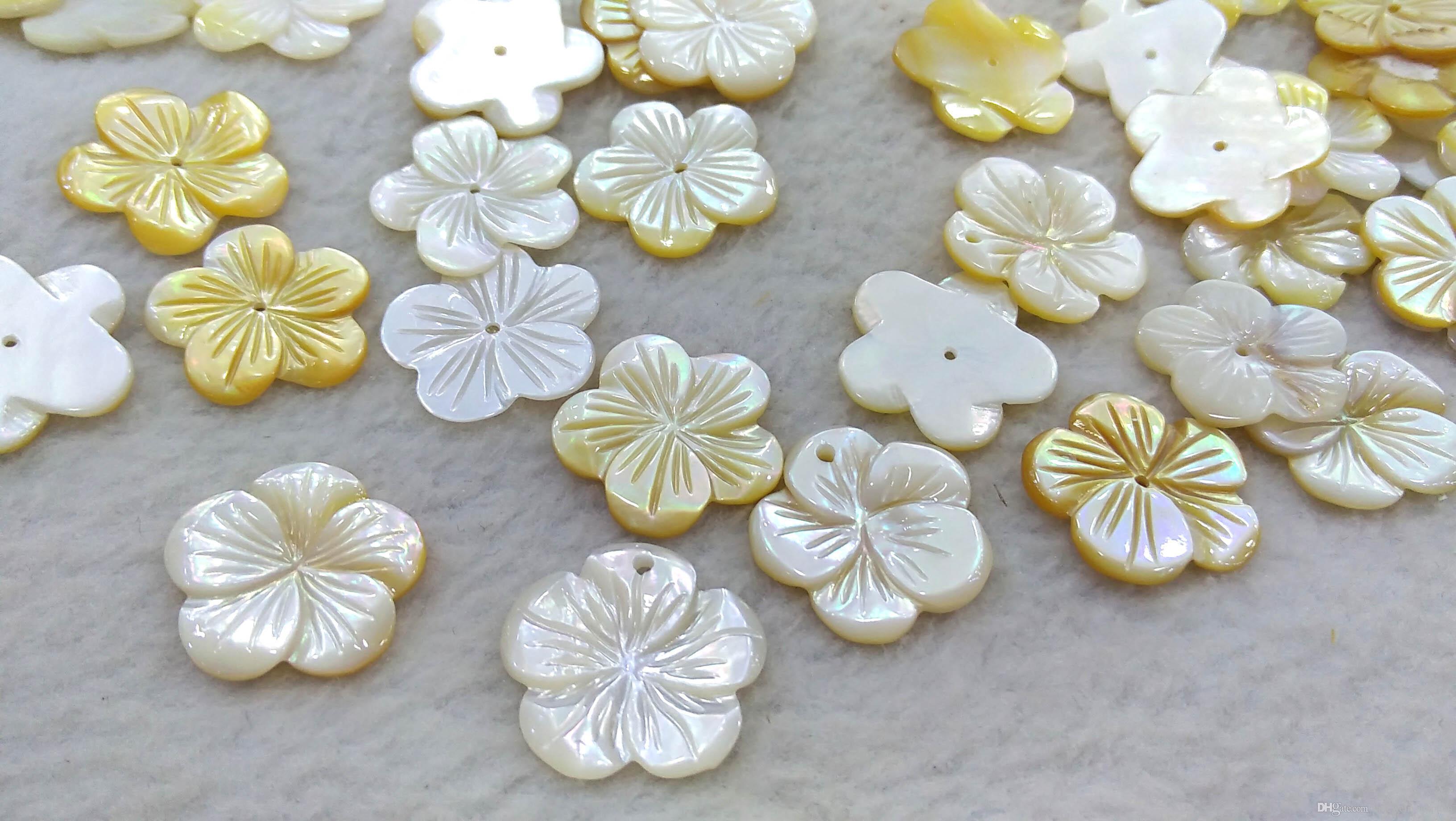 10 Pcs 10mm 3 Pétalos Flor de concha blanco natural Madre de Perla Cuentas Sueltas