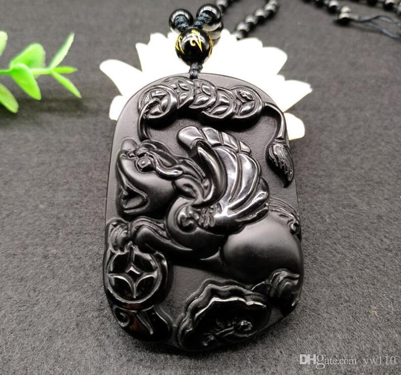 Obsidian naturel Qian Ruyi Jade collier pendentif en gros