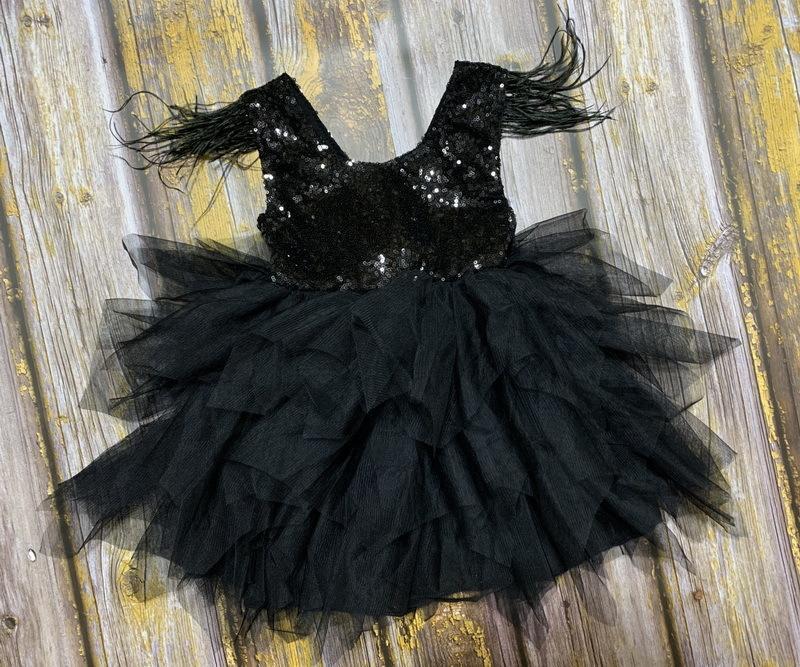Перо Блестки ярусами девушки одеваются Пушистый тюль партии Детские принцессы платья для девочек Одежда для младенцев 2-10Y E13846