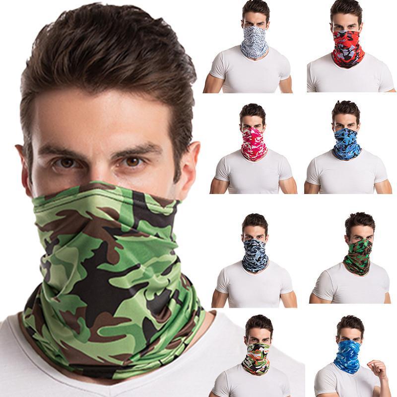 seda de camuflagem gelo ao ar livre ciclismo mágica máscara turbante unisex ciclismo cobertura turbante pescoço à prova de vento pescoço protetor solar lenço Bandanas FFA3973