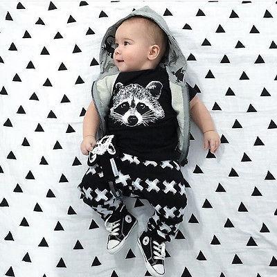 الجديدة الرضع العضوية بوي تتسابق قصيرة الأكمام تي شيرت + PRINT سروال اللباس مجموعات الملابس البدلة 2 قطعة