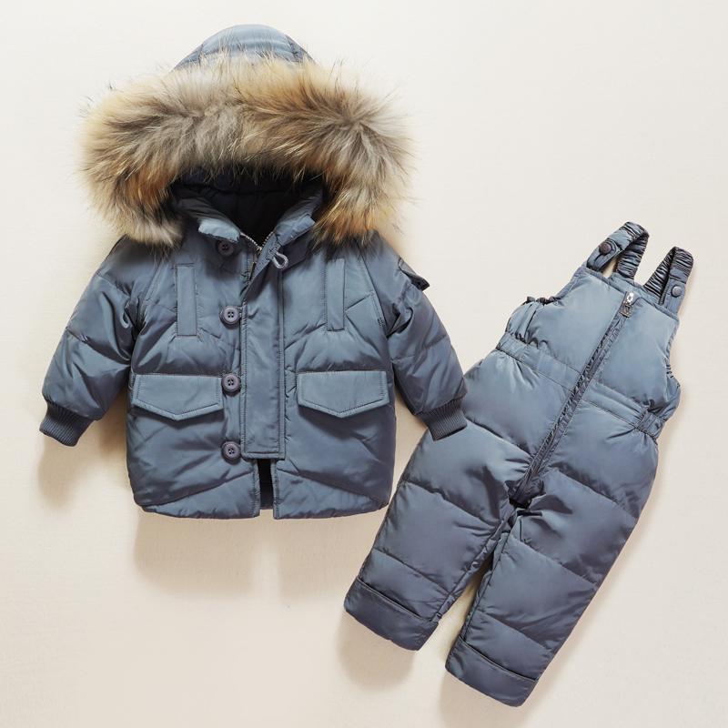 Invierno de los niños niñas ropa series de calentamiento con capucha de la chaqueta de plumón de pato Coats + pantalones del bebé ropa de los muchachos de los niños trajes para la nieve de invierno Ropa de abrigo