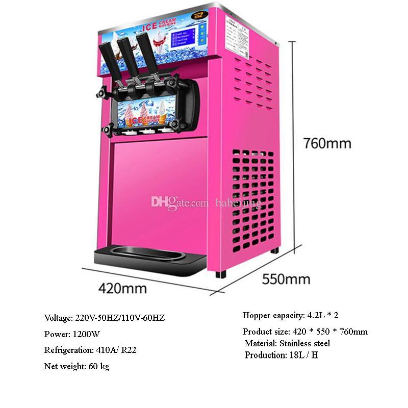 Crème commerciale douce Machine à glace Haute Capacité de production de 18 litres / H Marque New Ice Cream Making Machine
