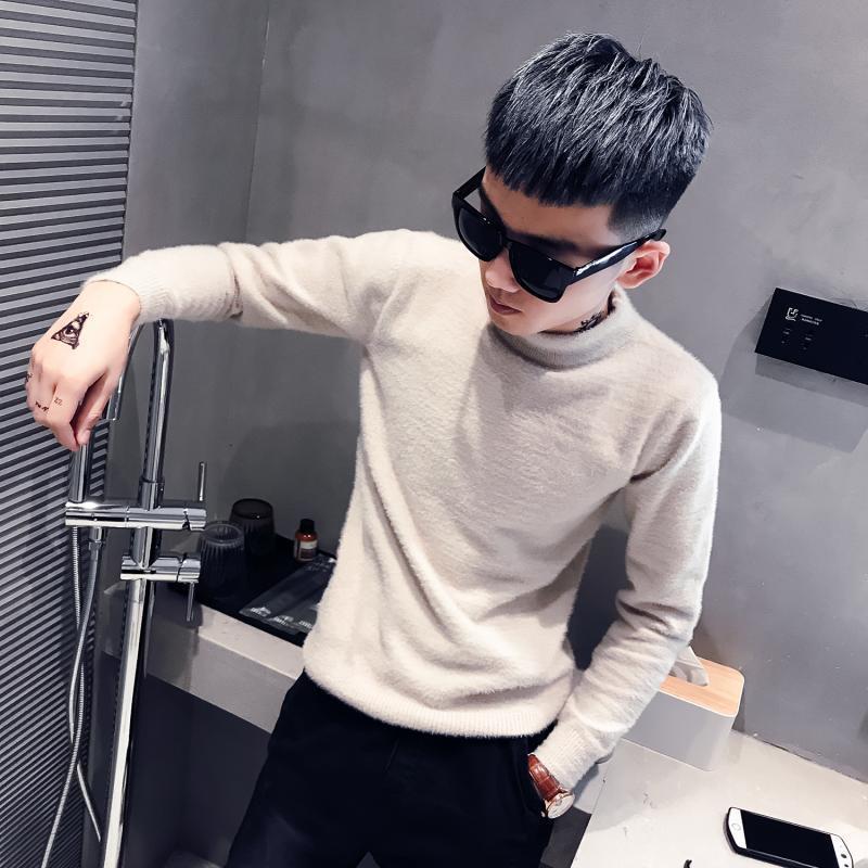 Großhandel 2019 Herbst Winter warm thermische Hohe Kragen Sozial Kerl Pelz Pullover Teenager Knithemd grundiert Pullover männlich