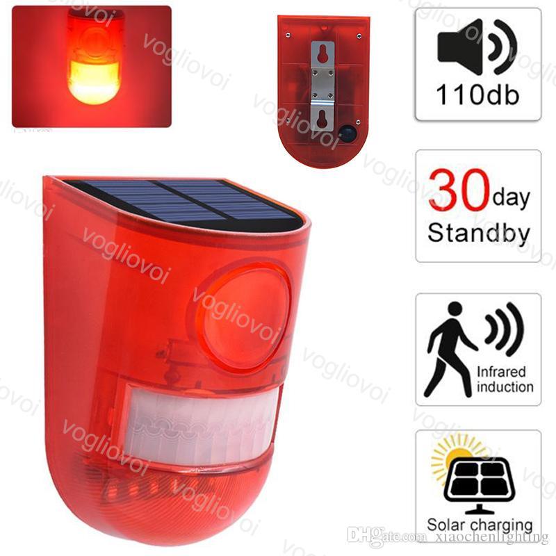 Solar Security Lights Motion Sensor Sound Alarm Strobe Light Flashing 6LED Light Alarm System 12 Hours and 24 hours Mode DHL