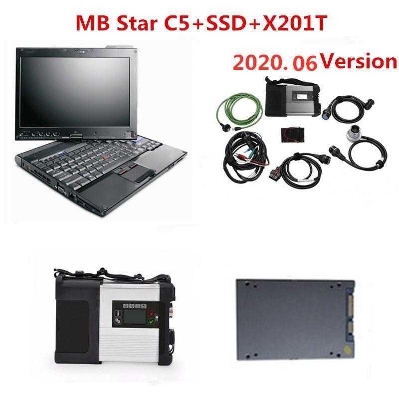 varredor MB Estrela C5 com software HDD / SSD V06.2020 em apoio Laptop wi-fi X201t PC para MB Veículos toda diagnóstico C5 SD connect