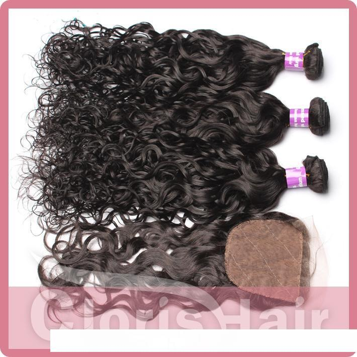 Peruvian Virgin Hair Water Wave Silk Base Closure With Bundles 4pcs Unprocessed Natural Human Hair Weaves Closure Wet And Wavy Extensions