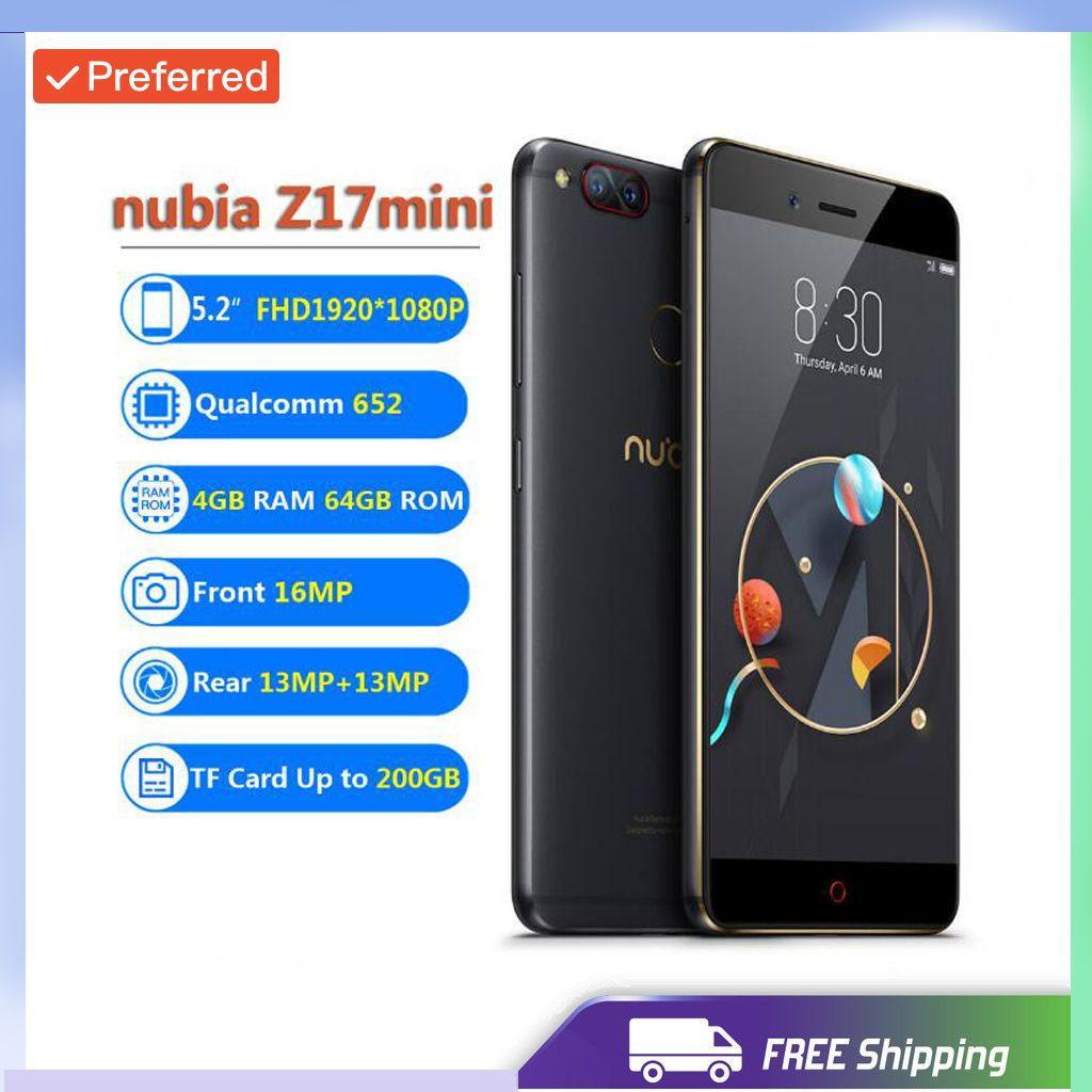Factory Unlocked Original ZTE Nubia Z17 Mini 4GB RAM 64GB ROM Mobile Phone Snapdragon652 Cellphone Dual Rear Cameral FDD LTE 4G NFC