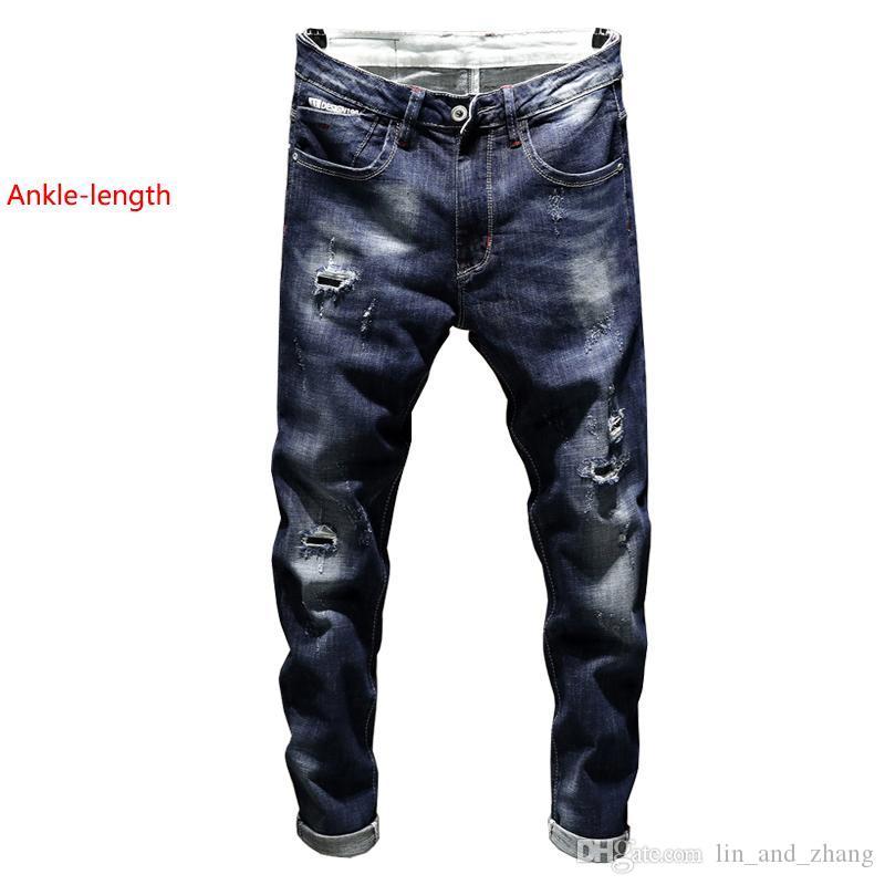 Jeans Verão Azul estiramento no tornozelo de comprimento calças dos homens novo rasgado homem quebrado rasgado magro magro Denim Jeans motociclista Streetwear Calças