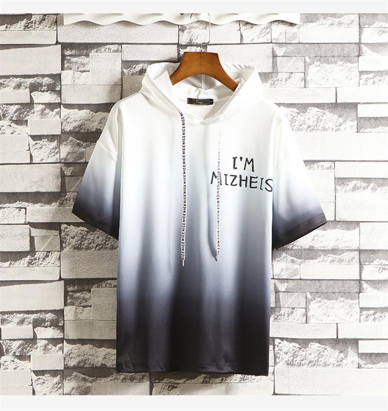 Collar Hoodies Mens Pullover Gradiente Cor capuz Carta Imprimir Mens Hoodies Designer Verão manga curta com capuz