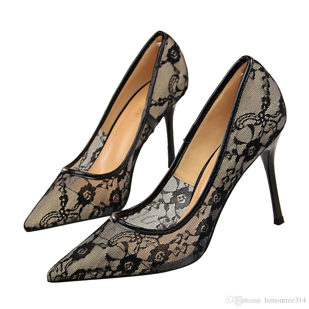 Women Sexy Lace Flowers High Heels Lady Slip On Wedding Dress Shoes Party Evening Ball Prom Pumps Pointed Toe Stiletto Sandals