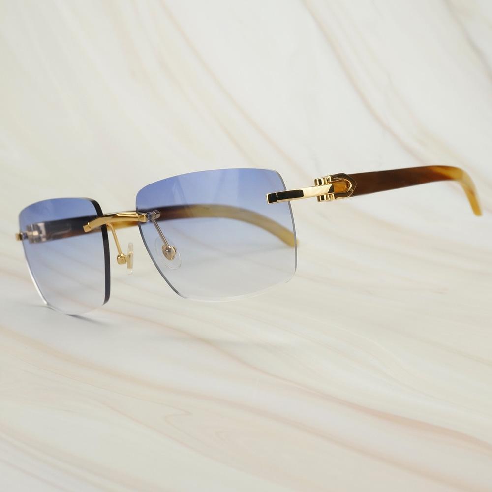 Impressione Retro sovradimensionato piazza Occhiali da sole Occhiali da sole Raw Buffalo Horn per gli uomini Carter Mens Sun di vetro di marca Shades lfxgD