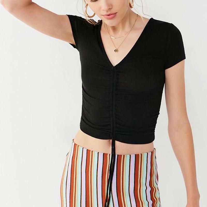 Örgü İpli Mahsul Kadınlar Tişört V Yaka Kısa Kollu Katı İnce Bayan Gömlek 2020 Yaz Seksi Bayanlar Üst Giyim Tops