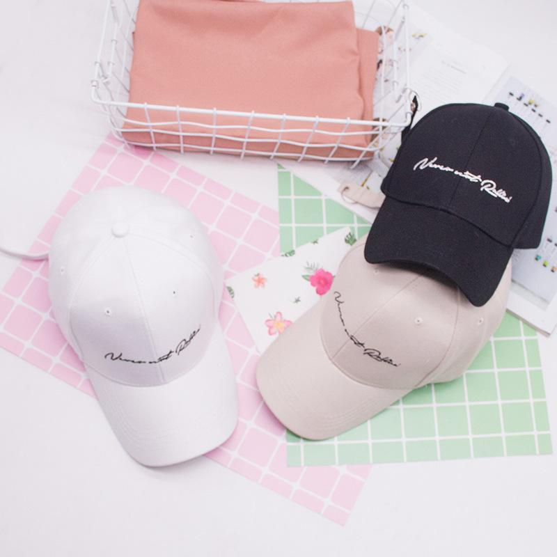 Korean-Style White Baseball Cap Mens And Womens Spring And Autumn Simple Leisure Wild Letter Couples Curved Eaves Cap Hat Korean Version of