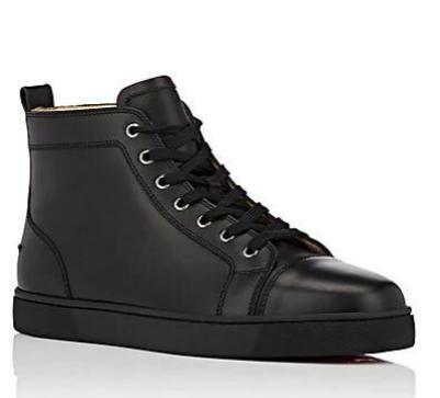 2018 Designs Hommes Mode Chaussures rouges fond Sneaker luxe Party Chaussures de mariage en cuir véritable Louisfalt Spikes Lacets Casual Noir 25