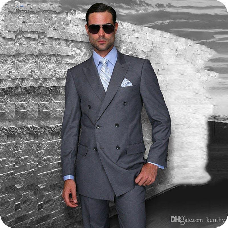 Peaked Lapel Double breasted Tuxedos Men/'s Wedding Business Party Tailor Made