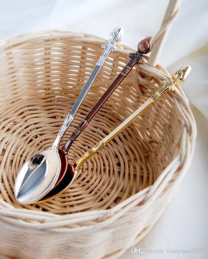 12.6 * 2.2 * 3.5 cm MINI Kahve Kaşığı Scoop Klasik Karıştırma Kaşığı Güzel kuyruk Yosun lezzet küçük kaşık şekli Retro Sofra TY2387