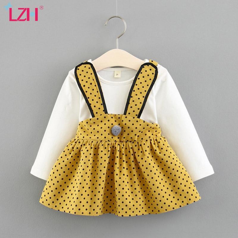 LZH 2020 infantil do bebê do outono Casual Dot Imprimir Costura Vestido manga comprida para os bebés recém-nascidos vestido de princesa roupa
