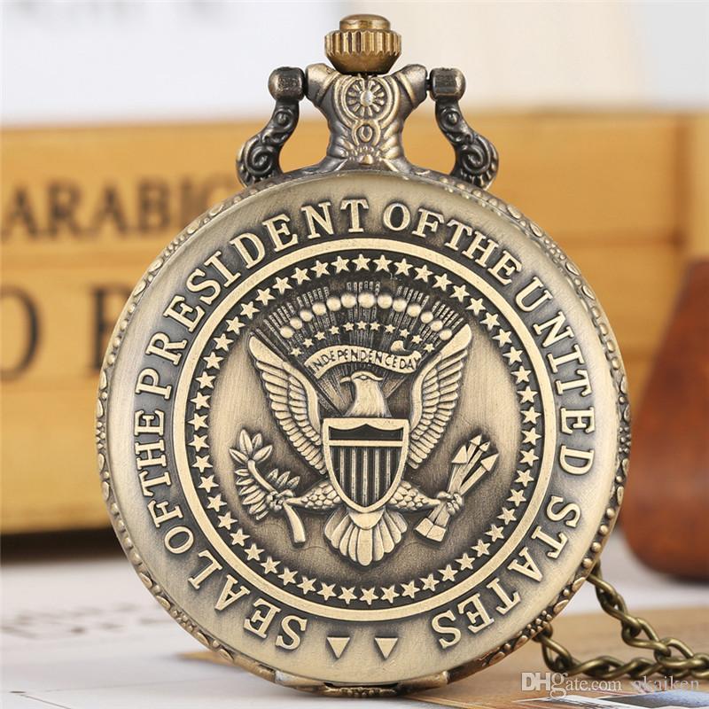 Retrô Relógios Selo de Presidente dos Estados Unidos América Casa Branca Donald Trump Quartz Bolso Relógio Arte Coleções para Homens Mulheres
