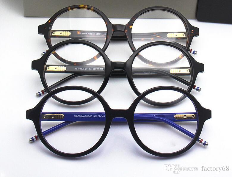 High-quality TB500 glass retro-vintage big-round frame 53-21-145 pure-plank with full-set case prescription galssses freeshipping