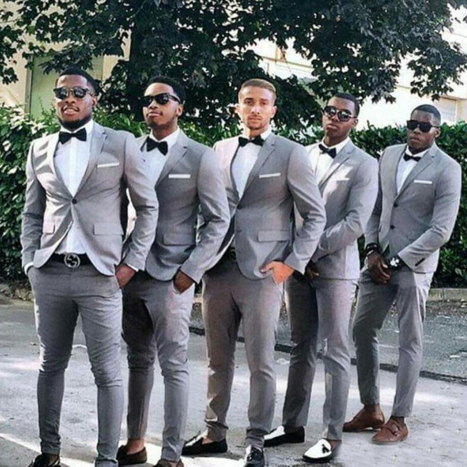 Gray Wedding Groomsmen Tuxedos Notched Lapel Slim Fit Men Suits for Bridegroom Blazer Man Wedding Suit 2 Piece Coat Trousers