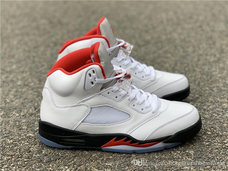 Retro New 5 Fire Red 2013 Red White Basketball Shoes Mens V 5S Fire Red 2013 Sports Sneakers US Tamanho 7 13