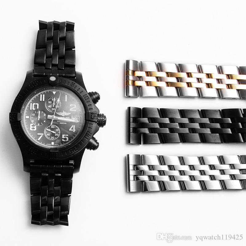 YQ Hight Quelity Cinturini per bracciale 22 24mm Mens Argento Solido in acciaio inossidabile Cinturino per orologi Cinturini per orologi Accessori per Breitling