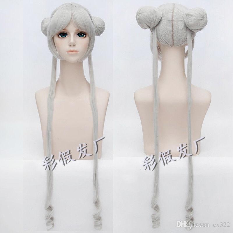 Silver White Sailor Moon Princess Serenity Tsukino Usagi Cosplay Wig