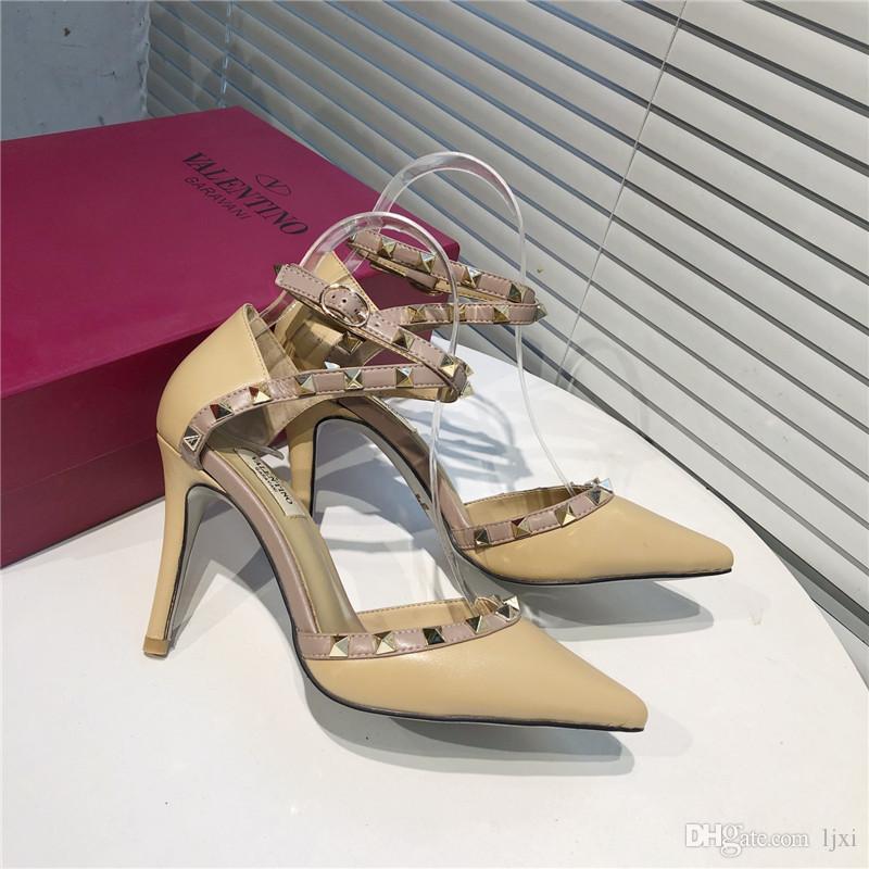 2020Fashion de luxo designer mulheres sapatos de salto alto arco-íris Shoes Ladies famosos rebite Rhinestone partido Sliver Pico Plano No Limit size35-41