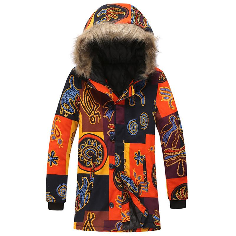 Cotton clothing men winter hooded thick fur collar down cotton padded long section ethnic style printing fashion warm thick coat