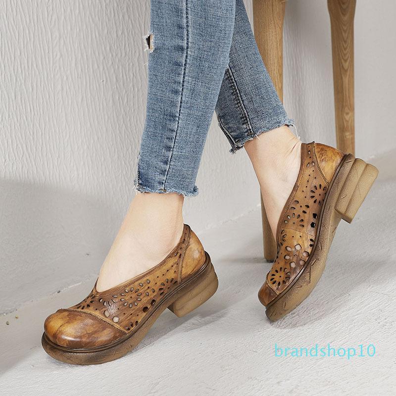 Skillful2019 Ancien retour épais pente bas en été avec creux en cuir véritable chaussure femme Out manuel Wipe personnalité de couleur unique