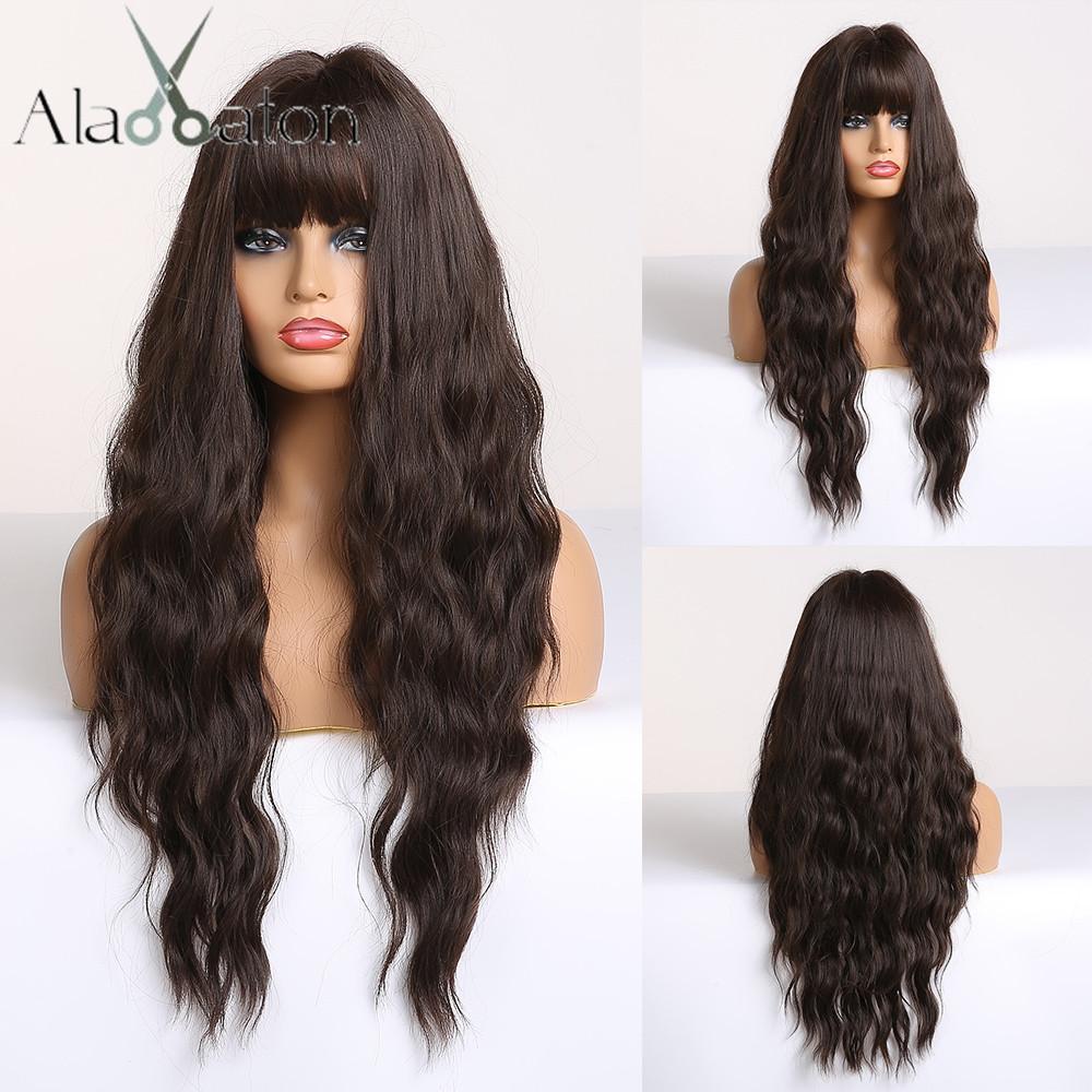 Sintética Cabello (Negro) ALAN EATON largo marrón oscuro para mujer pelucas con flequillo calor sintético resistente ondulado peluca de las mujeres afro