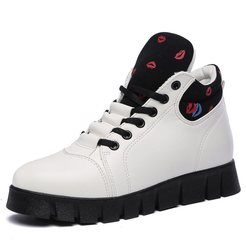 Kadınlar Yüksek Top Kırmızı Kadın Sneakers Bayan Deri Sneakers Yüksek topuk Sneaker Platformu Kadın Zapatos Harajuku için takozları Ayakkabı