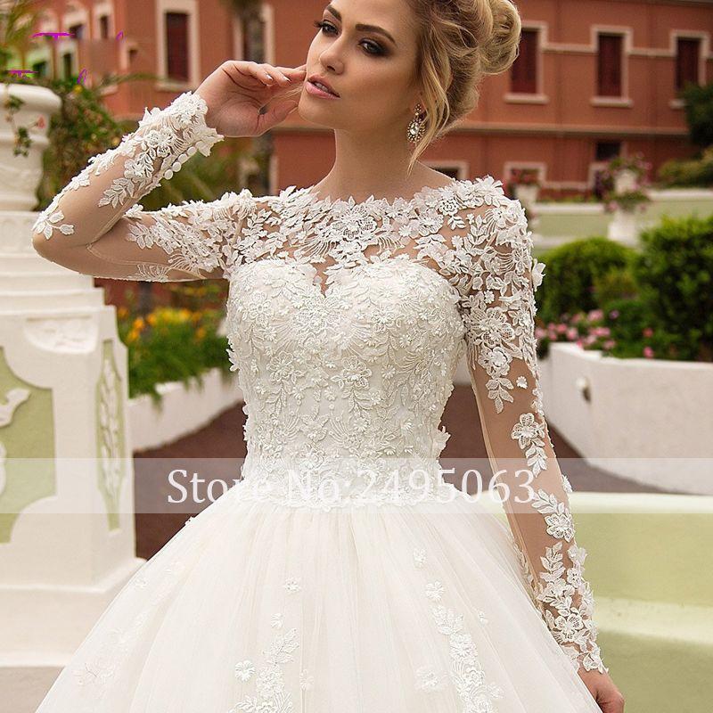 Charming Appliques Long Sleeves A-Line Wedding Dress 2019 Fashion Scoop Neck Lace Up Princess Bridal Gown Vestido de Noiva