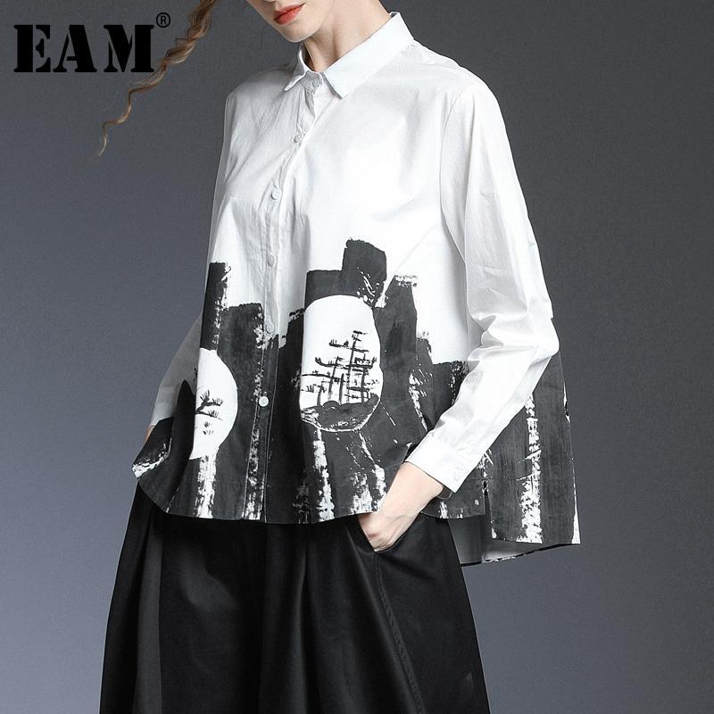 [EAM] Women White Pattern Print Printed Big Size Bluce New Lapel Long Sleeve Long Sleek Fit Shirt Fashion Tide Spring 2020 1T420