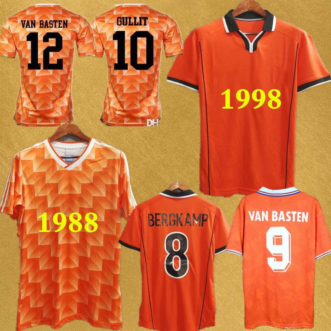 Retro calcio maglie Olanda 1998 Coppa del Mondo di Van Basten 1988 Olanda classica maglia da calcio Bergkamp Gullit Voetbal camisa de futebol