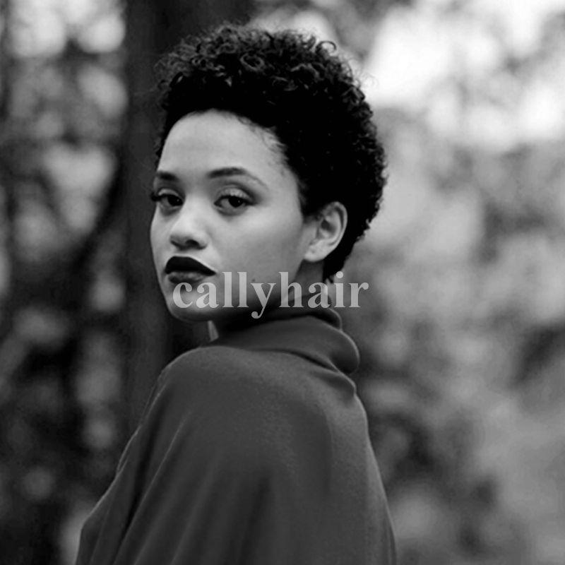 Brazilian virgin Hair Top quality lace wigs Celeb Afro kinky curl Glueless Cap 8 inch natural Wigs For Black Women machine made wigs
